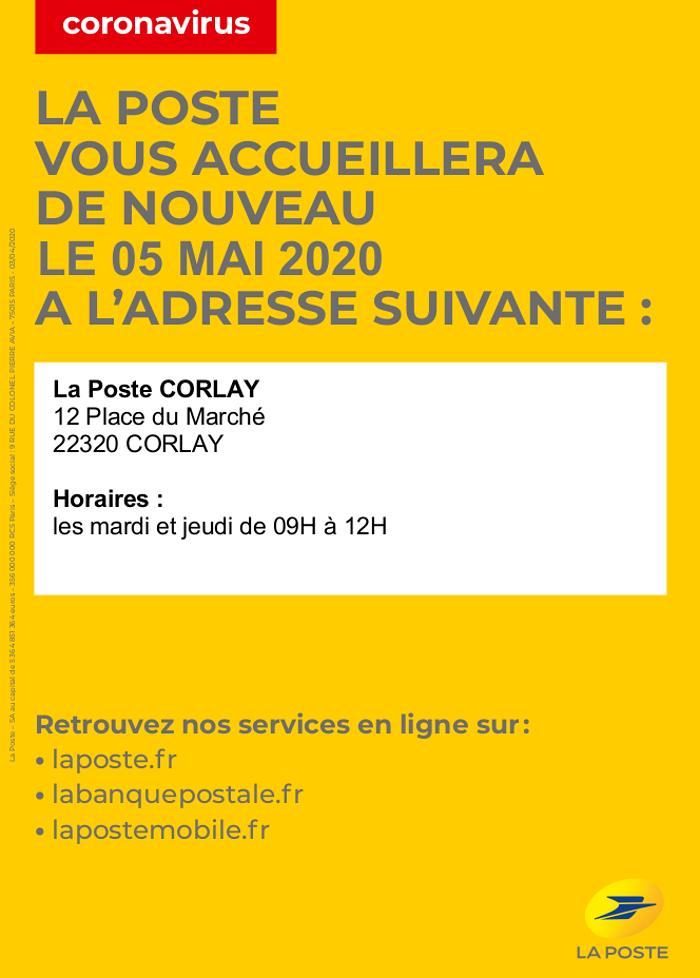 Réouverture de la Poste de Corlay le 5 Mai 0